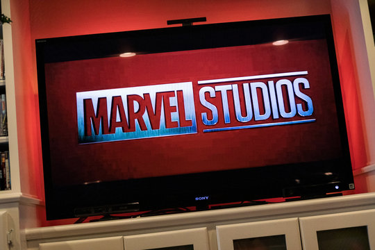 St. Louis, Missouri, USA - August 17, 2019: Marvell Studios Logo Before Avengers Movie