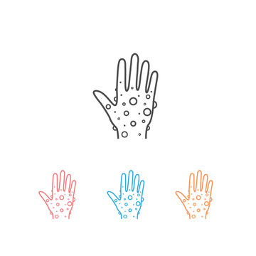 Eczema hand skin line icon set. linear style sign for mobile concept and web design. Rash hand, allergic reaction outline vector icon. Symbol, logo illustration. Pixel perfect