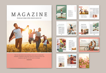 Magazine Layout with Pink and Green Elements