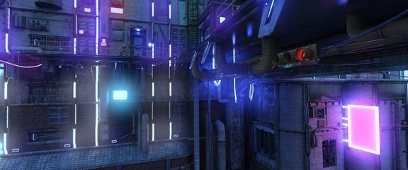 Fotomurales - Photorealistic 3d illustration of a futuristic city in a cyberpunk style. Bright neon night. Futuristic industrial cityscape.