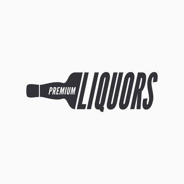 Liquor bottle glass logo on white background