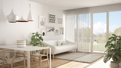 Warm and confortable scandinavian white living room with dining table, sofa and fur carpet, potted plant in minimal room with parquet floor, contemporary architecture interior design