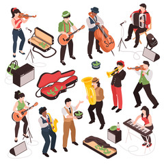 Isometric Street Musician Set