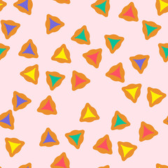 Purim seamless pattern with hamantaschen cookies in cartoon style. Textile ornament with hamantaschen cookies on light background. Design for the decoration of the Jewish holiday of Purim.