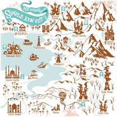 Fantasy Adventure map builder with simple icon elements in vector illustration format 2