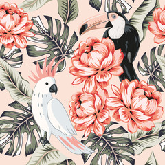 Toucans, parrots, rose flowers, monstera palm leaves, pink background. Vector floral seamless pattern. Tropical illustration. Exotic plants, birds. Summer beach design. Paradise nature