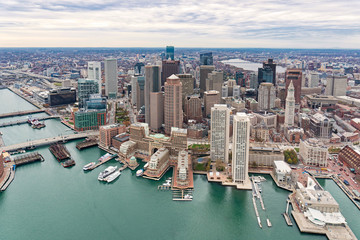 Boston city skyline, United States. Downtown skyscrapers aerial view.