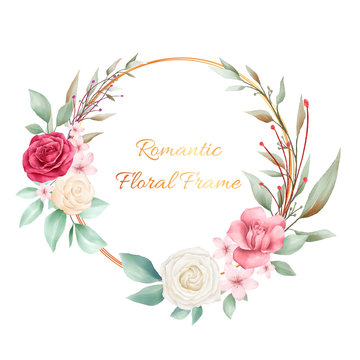 Romantic floral wreath for wedding or greeting cards. Editable vector for cards composition elements