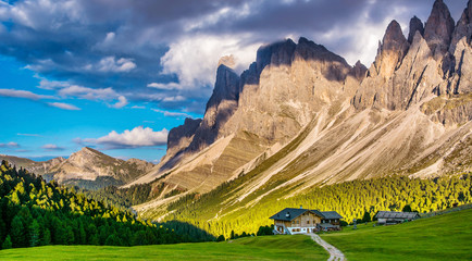 The beautiful Dolomites group of Odle in the Natural Park of Odle-Puez, Val di Funes. Bolzano, South Tyrol Italy. Artistic picture. Beauty of mountains world