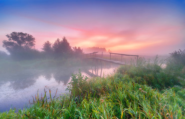 Beautiful foggy morning on the river banks Fototapete