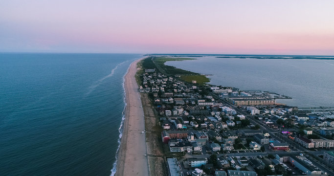 An aerial view of Dewey Beach in Delaware, a popular summertime tourist destination