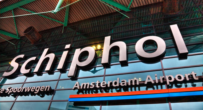 Amsterdam,Netherlands- October 31st 2011: Detail of the main entrance in Shiphol Airport from Amsterdam.
