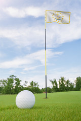 Rhode Island flag on golf course putting green with a ball near the hole