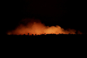 Smoke billows during a fire in an area of the Amazon rainforest near Humaita, Amazonas