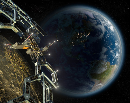 Asteroid mining space colony in a near Earth orbit