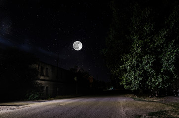Full moon over quite village at night. Beautiful night landscape of old town street with lights. Russia Fotomurales