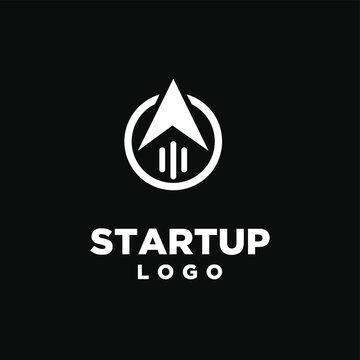 startup logo arrow icon design vector illustration