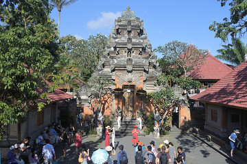 Visitors at Ubud Palace Bali Indonesia aerial view
