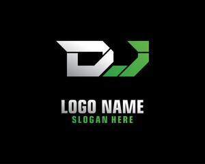 DJ Initial letter logo template vector