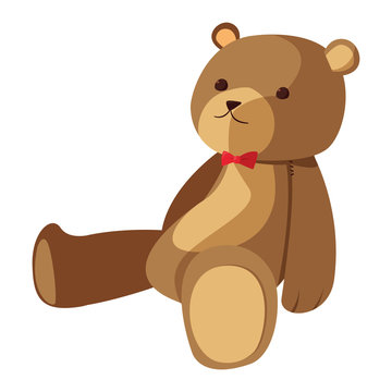 bear toy baby on white background
