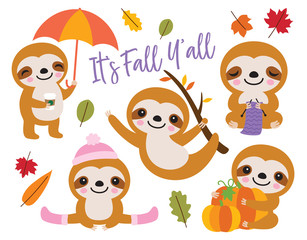 Fototapete - Vector illustration of cute baby sloth with Fall or Autumn theme.