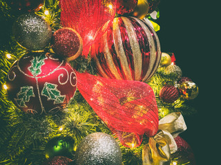 Christmas tree decorations. Ball ornaments.