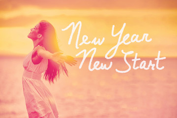 New Year New Start Resolution woman ready for life change for new year 2020 freedom. Text title...