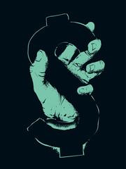 Hand Dollar Sign Stencil Illustration