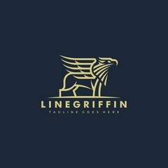 Line Art Griffin Illustration Vector Template