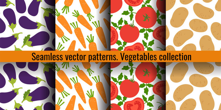 Eggplant, carrot, tomato and potato. Vegetables seamless pattern set. Fashion design. Food print for curtain. Hand drawn vector sketch background collection