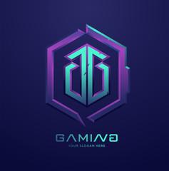GG letter monogram, 3d gaming Esports logo illustration