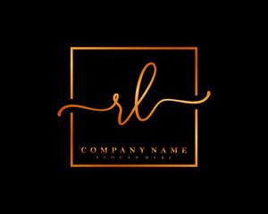 RL Initial handwriting square minimalist logo vector