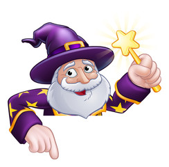 A wizard merlin magician Halloween cartoon character peeping over a sign pointing