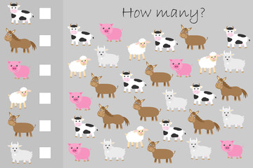 How many counting game,farm animals for kids, educational maths task for the development of logical thinking, preschool worksheet activity, count and write the result, vector illustration