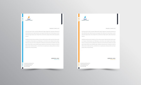 orange and blue Letterhead Design Template - vector