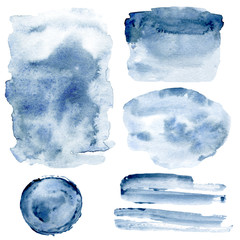 Set watercolor blue indigo splashes, stains, strokes, strips hand paint abstract background, backdrop. Illustrations isolated on white.