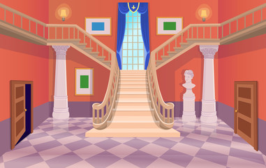 Vector old hall room with stairs, doors and a window. Cartoon illustration.