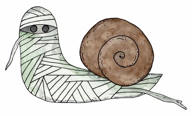 Cartoon snail mummy. Halloween illustration isolated. Watercolor hand drawn