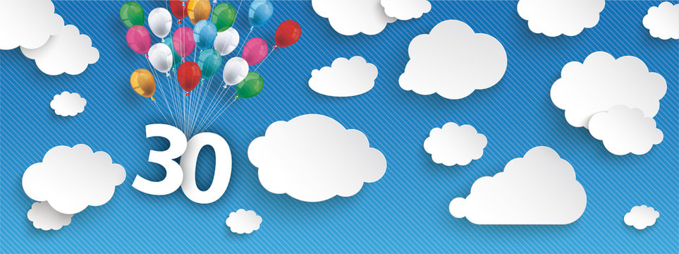 Paper Clouds Striped Blue Sky Balloons 30 Header