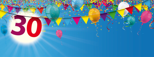 30 Sky Sun colored Confetti Balloons Ribbons Garlands Header