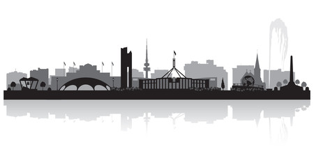 Wall Mural - Canberra Australia city skyline silhouette