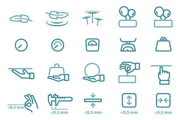 Lightweight material icon for product and thinness object.