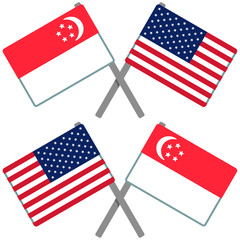 シンガポールとアメリカの旗