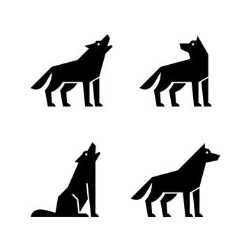 Set of Wolf logo. Icon design. Template elements