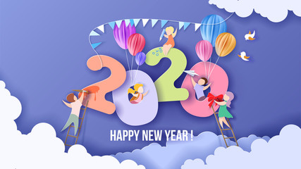 2020 Happy New Year design card with kids