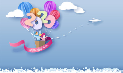 2020 New Year design card with kids flying