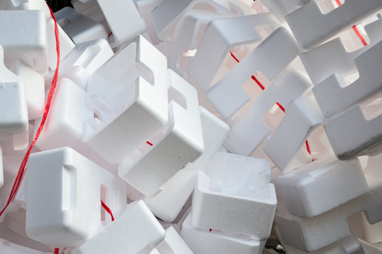 A pile of Polystyrene protective box