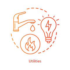 Household communal utilities concept icon. Public services, water, electricity supply idea thin line illustration. Natural gas, heating system. Vector isolated outline drawing. Editable stroke