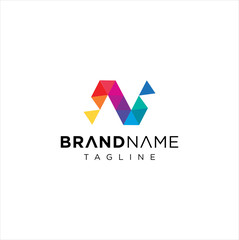 Letter N logo Pixel Triangle Geometric Colorful / Abstract Letter N Tech Logo Colorful