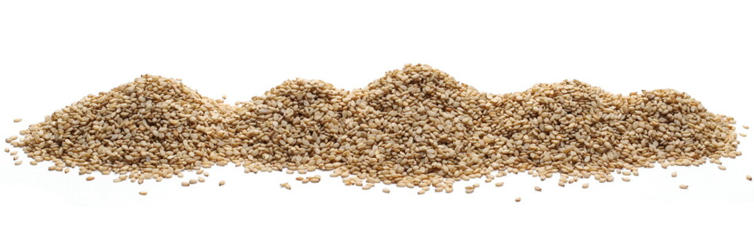 Organic integral sesame seeds isolated on white background